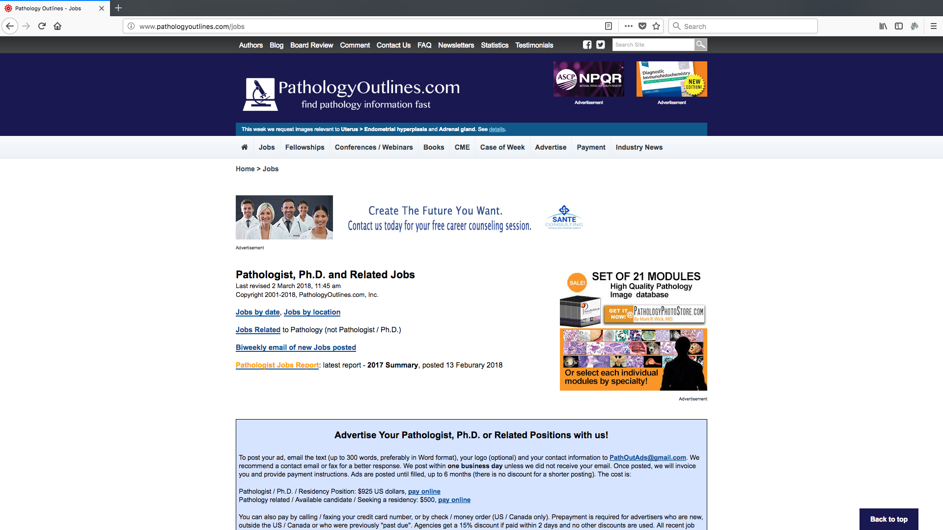 Pathology Outlines - Jobs page banner advertising at