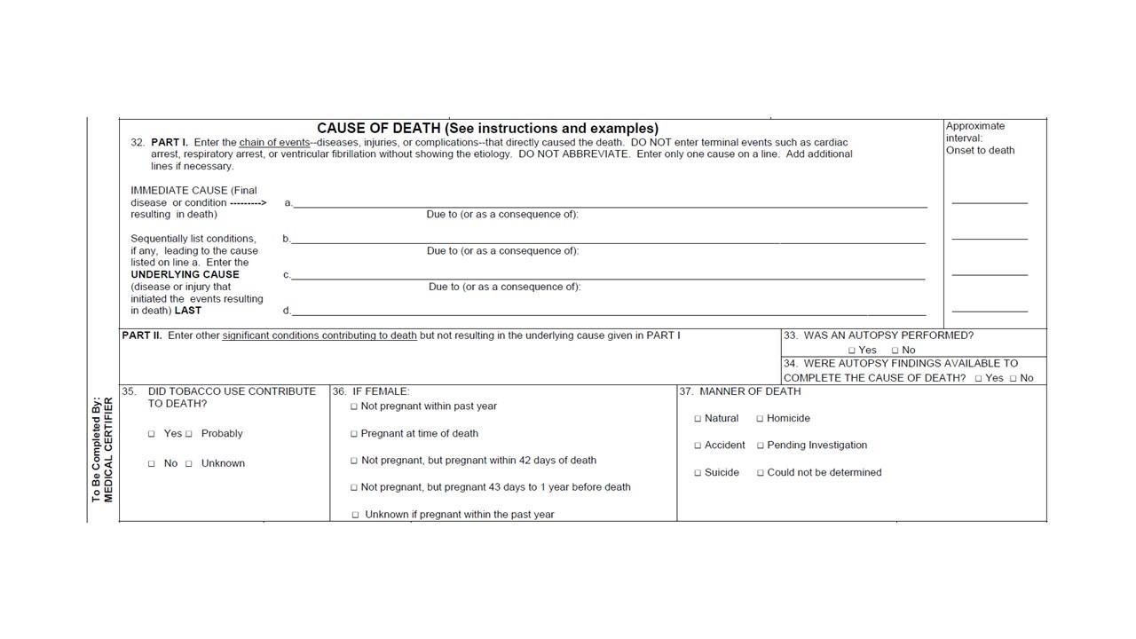 Forensic sample death certificate